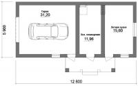 Гараж 5.9х12.8х2,5м (теплый гараж для дачи 75.52 м.кв)