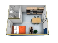 Дачный домик 43,2 м.кв (7,2х6х3м) внутренняя отделка МДФ