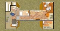 Дачный домик 50.4 м.кв (10,8х7х2,5м) на базе блок контейнеров внутренняя отделка МДФ