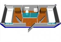 Дачный домик 19,2 м.кв (8х2,4х2,5м) на базе блок контейнеров внутренняя отделка ПВХ
