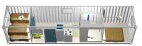 Дачный домик 21,6 м.кв (9х2,4х2,5м) на базе блок контейнеров внутренняя отделка ПВХ