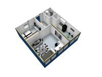 Дачный домик 50,4 м.кв (7,2х7х3м) на базе блок контейнеров внутренняя отделка МДФ