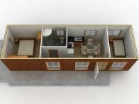 Дачный домик 21,6 м.кв (9х2,4х2,5м) на базе блок контейнеров внутренняя отделка МДФ
