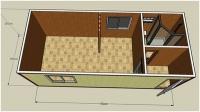 Дачный домик 21 м.кв (7х3х2,5м) на базе блок контейнеров внутренняя отделка МДФ