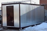 Блок-контейнер 6.0x2.4x2.5м, внутренняя отделка ДВП (утепленная металлическая бытовка )