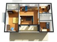 Дачный домик 64.8 м.кв (7.2х9х3м) на базе блок контейнеров внутренняя отделка Вагонка