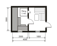 Баня 4000х3000х2,5м (баня на металлическом каркасе 12 м.кв)