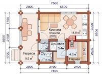 Баня 5,5х7,5х2,5м (баня на металлическом каркасе 5,5х7,5х2,5)
