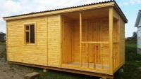 Бытовка деревянная с хоз блоком 5.8x2.3x2.5м, внутренняя отделка ДВП (Бытовка деревянная от производителя)