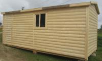 Бытовка деревянная в блок-хаус 5.8x2.3x2.5м, внутренняя отделка ДВП