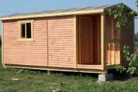 Бытовка деревянная с хоз блоком 5.8x2.3x2.5м, внутренняя отделка оргалит
