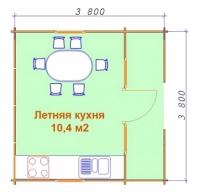 Летняя кухня 3.8х3.8х2.5 м.