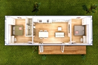 Дачный домик 24 кв. из металлического каркаса внутренняя отделка Вагонка